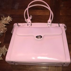 Pink work bag for laptop and file folders